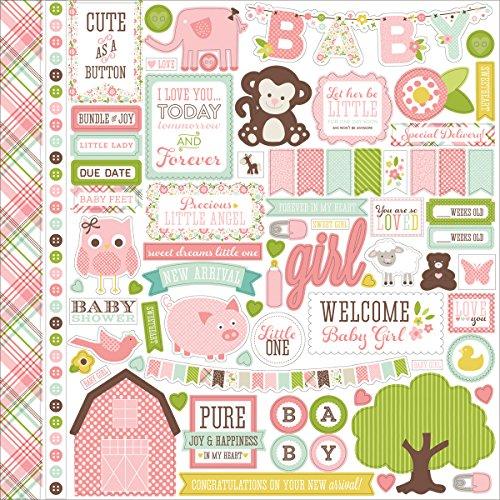 Echo Park Paper Bundle of Joy/A New Addition Baby Girl Element Kartonaufkleber, 30,5 x 30,5 cm