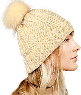 بوهيند قبعة صغيرة محبوكة للشتاء مع فرو صناعي بوم بيج دافئ قبعة صغيرة لينة تمتد كابل اكسسوارات الشعر للنساء والفتيات