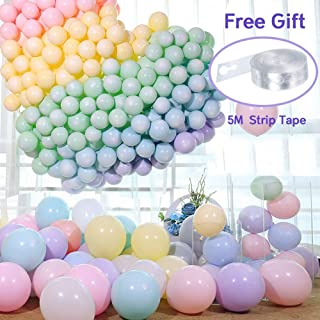 Balloons Assorted Colour 100 pcs 10 inch Macaron Coloured Balloons Party Decorations, Ideal for Wedding and Birthday Decorations for Girls, Macaron Baby Shower Decorations (Round-shaped)