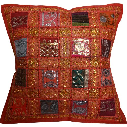 17 Recycled Sari Cushion Cover 43cm Indian Moroccan Red by Designs Emporium
