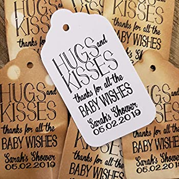 Hugs and Kisses Thanks for all the Baby Wishes Personalized Baby Shower Favor Tag sets of 25 Tags  my MEDIUM tag  1 3/8  x 2 1/2