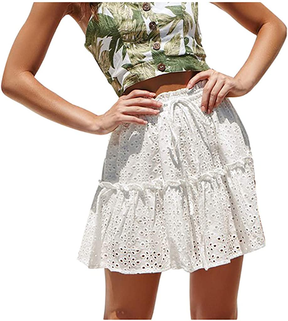 Casual Fashion Womens Print Ruffles A-Line Pleated Lace Up Bandage Short Skirt