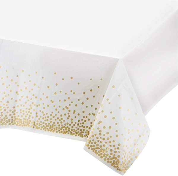 Plastic Tablecloths For Rectangle Tables 4 Pack Party Table Cloths Disposable Gold Dot Confetti Rectangular Table Covers For Parties Thanksgiving Christmas Wedding Anniversary 54 X 108