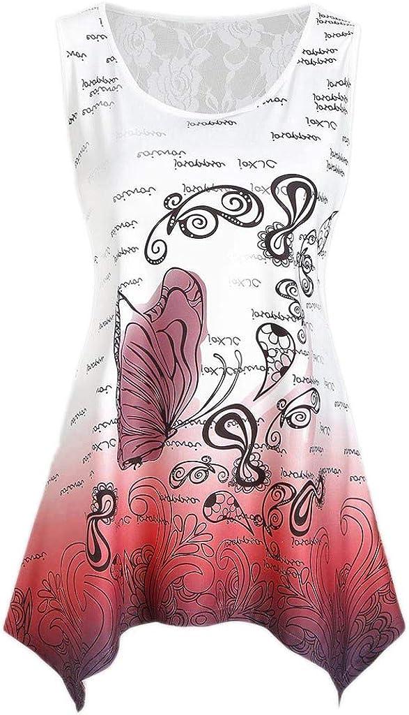YUHUISTART Weste Frauen Sommer Mode /Ärmellos Spitze Panel Schmetterlingsdruck Tank Top Casual T-Shirt Bluse Pulli Hemd Oberteile Bluse Tunika
