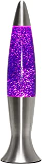 Elegante lámpara de lava Angelina con purpurina, 40 cm de altura, incluye bombilla G9, diseño retro, color morado y plateado