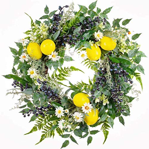 24インチ 春夏 人工レモンフルーツリース 多肉植物