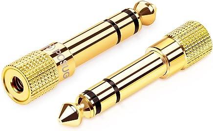 Adaptador Audio Jack 6.35 a 3.5, Posugear 2 Unidades Adaptador Convertidor de Audio Estéreo de Jack 3,5 mm Hembra a Jack 6,35 mm Macho
