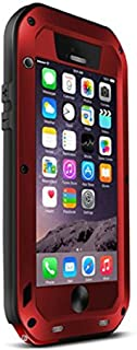 iPhone 6s Plus Case,3C-Aone[Newest] Gorilla Glass Luxury Aluminum Alloy Protective Metal Water Resistant Shockproof Military Bumper Heavy Duty Cover Case for Apple iPhone 6s Plus/5.5 inch (Red)