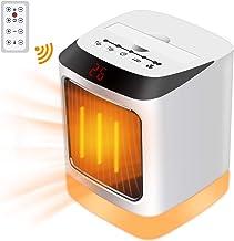 Tarnel Calentador portátil de Mesa con Control Remoto Protección contra sobrecalentamiento e inclinación Calentador de Ventilador eléctrico con luz Nocturna para Uso doméstico y de Oficina