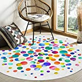 Edwiinsa Round Area Rugs Watercolor Polka Dot Modern Soft Carpet Floor Mat for Kids Study Playroom/Living Room, White Machine Washable Non Slip Rugs, Diameter 3ft