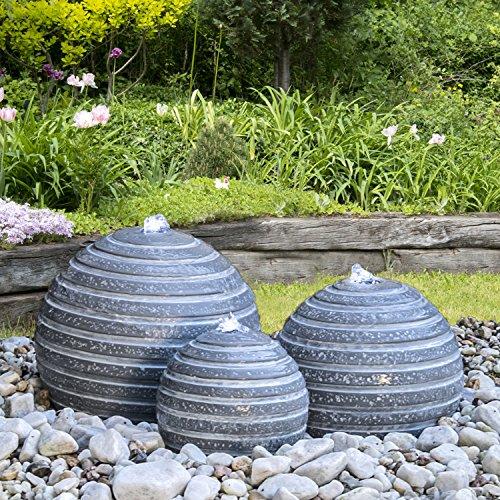 Köhko® Springbrunnen 15003 (14, 20 und 24 cm) 3er Kugelbrunnen-Set mit LED-Beleuchtung
