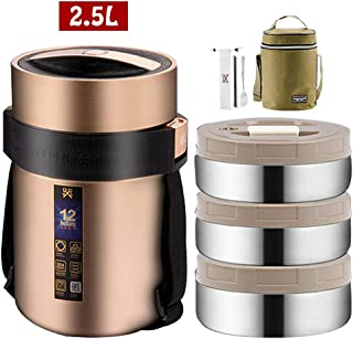 Food Thermos,Food Flask Food Jar Vacuum Insulated Stainless Lunch Thermos with Luch Bag,BPA Free Lunch Box with Handle Lid,Leak Proof Double Wall Vacuum Insulated Soup Container,Gold,2.5L