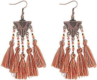 Copper Triangle w/Silk Thread Tassels & Beads SUPER LONG & DANGLE Statement Earrings 3