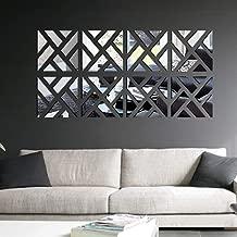 Nesee 3D Mirror Wall Sticker, 32Pcs Elegant Zebra Crossing DIY Art Sticker Removable Decal Decor for Home Livingroom(Silver)