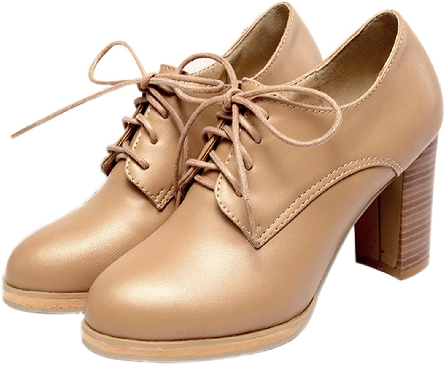 Lucksender Womens Round Toe High Chunky Heel Lace Up Comfort Oxford shoes