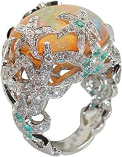 Orange Blue Fire Opal Ring Opel Ring Starfish Flower Personality Wild Crystal Wedding Rings Woman Ocean Party Luxury Jewelry Rings Woman Size 6-10(Silver,7)