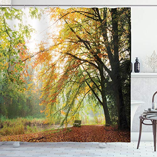 ABAKUHAUS Wald Duschvorhang, Herbst-Wald Friedensansicht, Waschbar & Leicht zu pflegen mit 12 Haken Hochwertiger Druck Farbfest Langhaltig, 175 x 200 cm, Orange Green