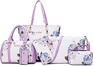 Handbags Sets for Women PU Leather Light Purple with Multi-Color Embossing Crossbody Tote Shoulder Satchels Bags Clutches Wallet Card Holder 6 Pcs Bag Set