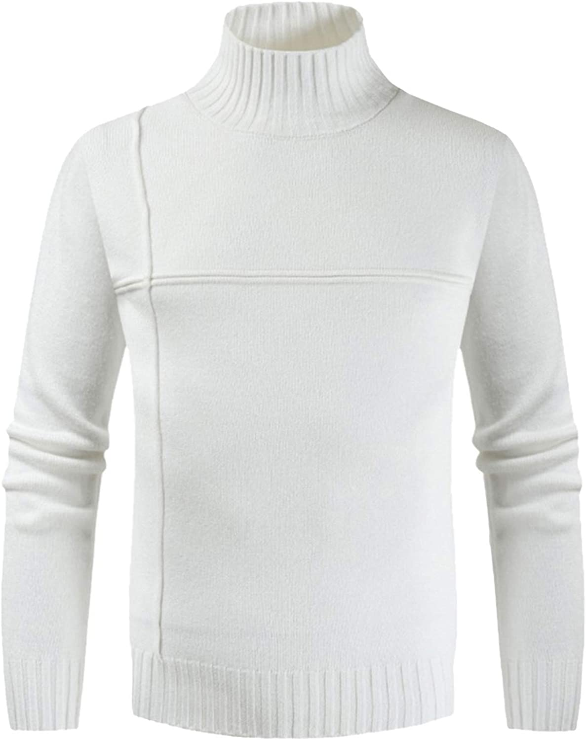 ZSBAYU Men's Turtleneck Pullover Sweaters Knitwear Fashion Slim Fit Sweater Base Layer Shirts Bottoming Shirt Jumpers