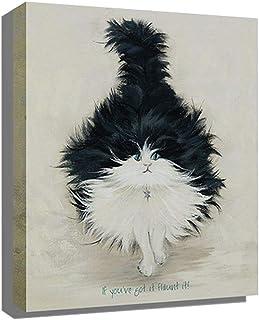 HUYYA キャンバスウォールアート,葉山油絵100%手描き抽象芸術動物用居間/寝室モダンルーム装飾,B_10x10inch