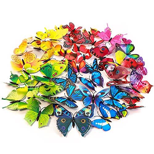 Imbry 72 Stück 3D Schmetterling Aufkleber Wandsticker Wandtattoo Wanddeko für Wohnung, Raumdekoration Klebepunkten+ Magnet (12 Blau + 12 Colour + 12 Grün + 12Gelb + 12 Rosa + 12 Rot) (Schmetterling)