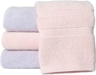 [Amazonブランド] Umi(ウミ)-フェイスタオル タオル 4枚セット 綿100% 瞬間吸水 速乾 柔らかい ふわふわ 抗菌 防臭 家庭/ホテル/スポーツなどに最適 赤ちゃん・敏感肌にも適用(ピンク2枚+パープル2枚,72x32cm)
