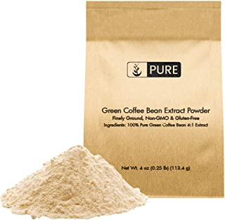 100% Pure Green Coffee Bean Extract Powder, 4 oz, 2% Caffeine & 50% Chlorogenic Acid (HPLAC), Vegan, Non-GMO, Fine Ground,...