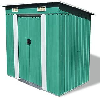 UnfadeMemory Caseta de Almacenamiento de Metal de Jardín,Cobertizo Exterior para Almacenar Herramientas con Marco en Suelo de Acero,190x124x181cm (Verde)