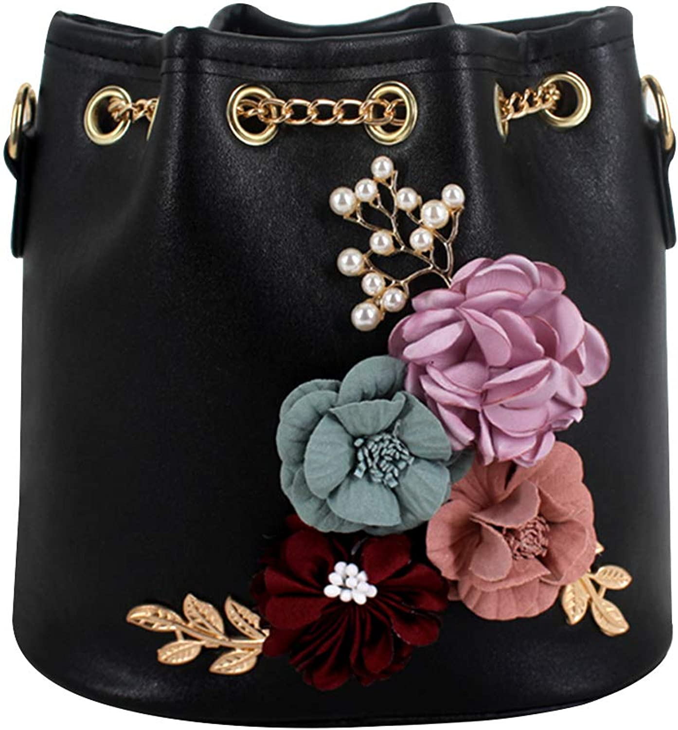 Goodbag Boutique Women Cactus Floral Bucket Bag Embroidery Chain Bag Drawstring Bag