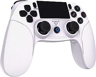 【2021年最新版】TopACE PS4 コントローラー FPS改良 Bluetooth 無線 HD振動 ゲームパット搭載 高耐久ボタン イヤホンジャック スピーカー DUALSHOCK 4代用 PS3 コントローラー(白)