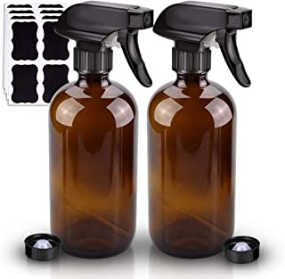 2 Pack Glass Spray Bottle, Wedama Amber 16oz Glass Spray Bottle Set & Accessories for Aromatherapy Facial hydration Wateri...