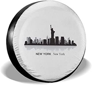 Spare Tire Cover, New York City Printing Wheel Protectors PVC Waterproof Dustproof for Jeep Trailer SUV RV and Many Vehicles(14,15,16,17 Inch)
