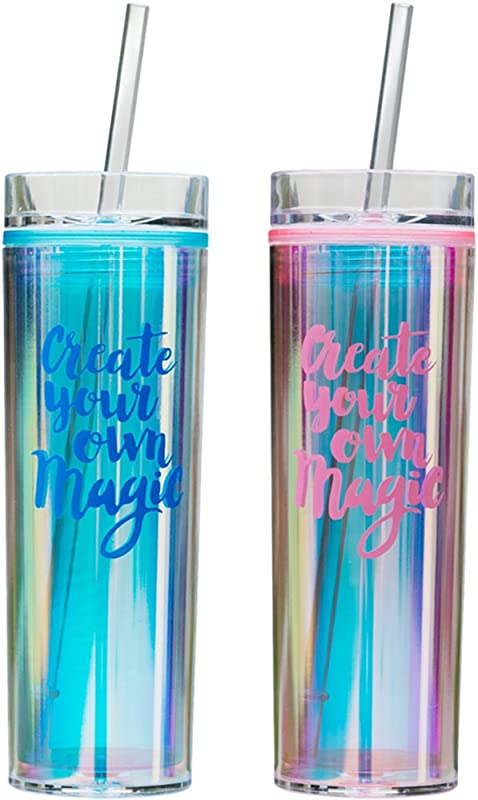 Bewaltz Create Your Own Magic Holographic To Go Cold Cup 16 Oz Drink Cup Stylish Rainbow Double Wall Insulated Tumbler With Lid And Reusable Straw BPA Free Party Gifts Birthday Gifts 1 Combo