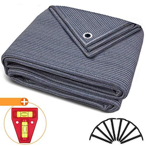 smartpeas Vorzeltteppich 250x350cm – Teppich blau/grau aus Polyethylen (HDPE) mit Edelstahl-Ösen robust & waschbar