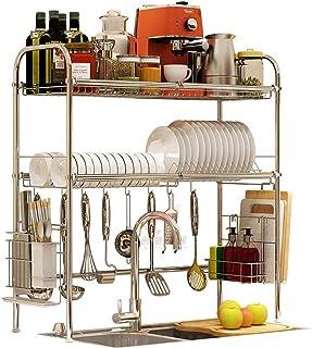 DJSMsnj Étagère de cuisine en acier inoxydable pour ustensiles de cuisine - Dimensions : 91 x 28 x 82 cm
