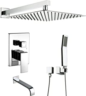 Artbath Shower System With Tub Spout,Shower Faucets Set for Bathroom and High Pressure Rain Shower Head Wall Mounted Shower Set(Contain Shower Faucet Rough-In Valve),Chrome