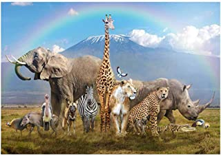 Funnytree 7x5ft African Safari Scenic Backdrop Realistic Wild Animals Jungle Forest Photography Background Summer Tropical Rainbow Baby Shower Birthday Party Banner Decorations Photo Studio Booth