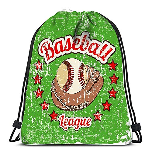 Drawstring Bags Backpack Baseball Label Over Green Travel Gym Bags Rucksack Shoulder