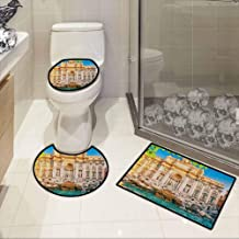Italy,Washable Bath Rug Set Fountain Di Trevi Famous Travel Destination Tourist Attraction European Landmark Absorb The Water on Your feet Multicolor