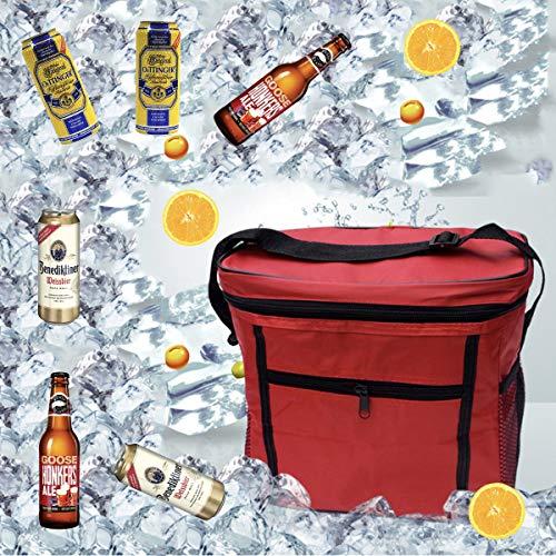 Sunshine smile Kühltasche Faltbar,Picknicktasche Kühltasche,Thermotasche Klein,Isoliertasche Lunch,Kühltasche Eistasche,Lunch Tasche,Kühlbox für Picknick(ROT)