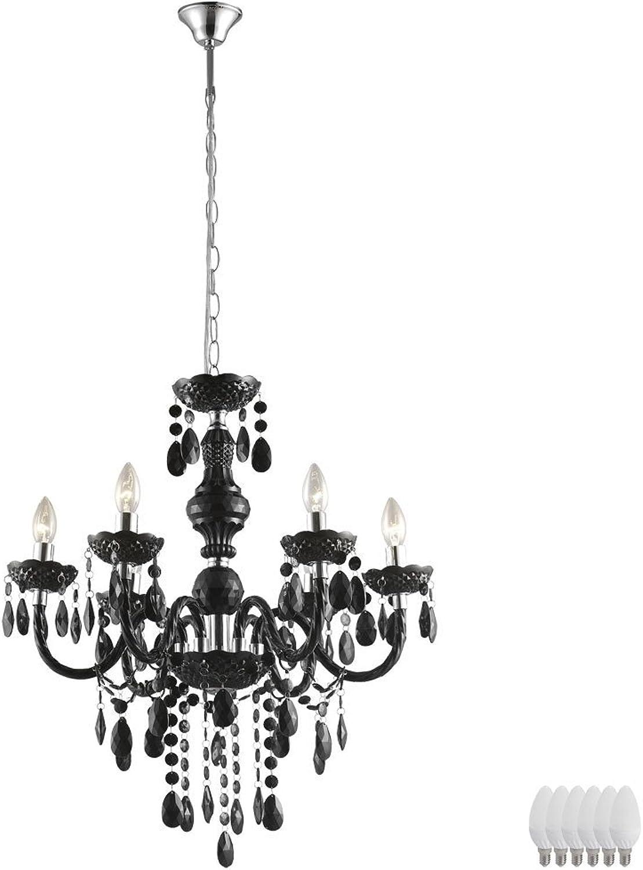 Hnge Leuchte Kronleuchter Decken Beleuchtung Luster schwarz im Set inklusive LED Leuchtmittel