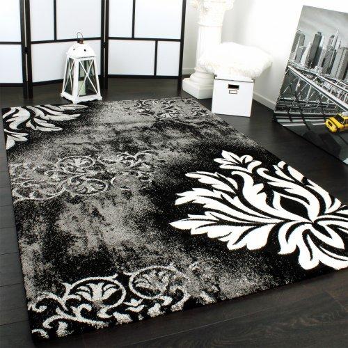 Paco Home Tappeto Design Moderno Lavorato A Mano con Bordo Grigio Bianco Nero, Dimensione:120x170 cm