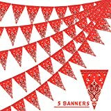 PROLOSO Bandana Pennant Banner Wild West Party Accessory Country Party Decorations for Western Cowboy Style Themed String Flags, 5 Strings