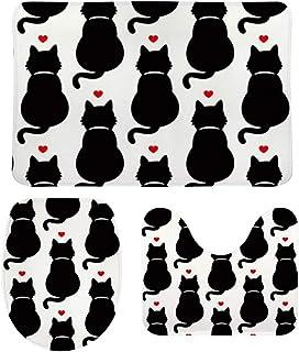 ZHIMI トイレマット3点セット トイレカバー 速乾抗菌 滑り止め付き 吸水性抜群 おしゃれ フタカバー バスマット 防寒 風呂マット 防寒 丸洗い 洗い可能 可愛い 猫柄 トイレファブリック