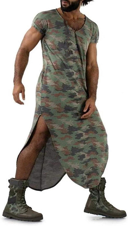 ZSBAYU Men Novelty Loungewear Sleepwear Vintage Printed Short Sleeve Crewneck Tops Knee Length Long Style Home Clothing