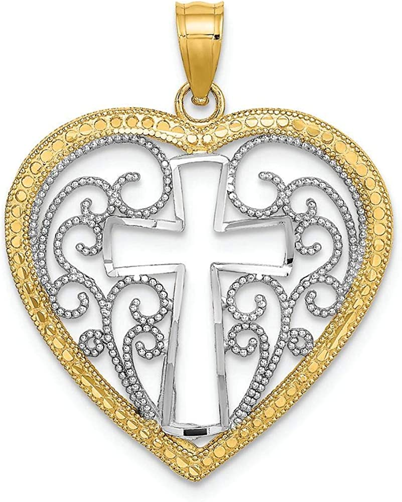 Finejewelers 14k Yellow Gold Heart Rhodium with Max 82% Super-cheap OFF Cross