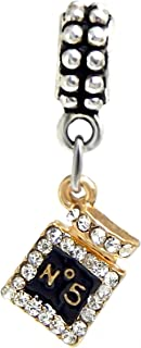J&M Dangle No. 5 Perfume Bottle with Crystals Charm Bead for Charms Bracelets