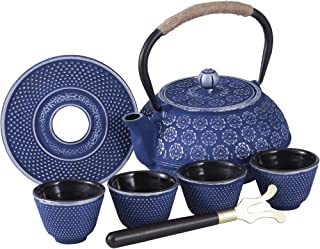 Blue Floral Cast Iron Teapot Set Japanese Style Tetsubin Tea Kettle with 4 Cups, Stainless Steel Infuser for Stove Top Tea Brewing 26 oz