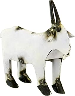 Rustic Arrow Goat for Decor, 3 by 9.5 by 7.5-Inch, White