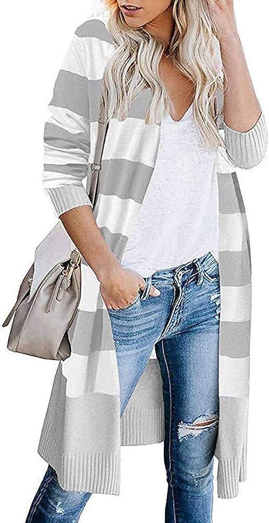 VEKDONE Women Plus Size Boho Open Front Long Cardigans Stripe Color Block Lightweight Loose Knit Kimono Sweaters Coat